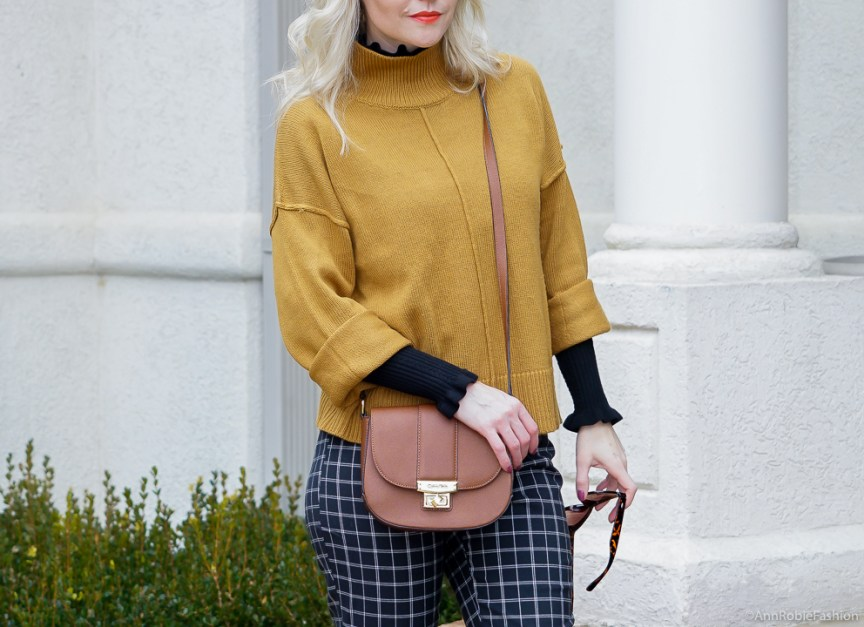 Mustard yellow oversized sweater, black turtleneck sweater, ankle pants - winter outfit by petite style blogger AnnRobieFashion