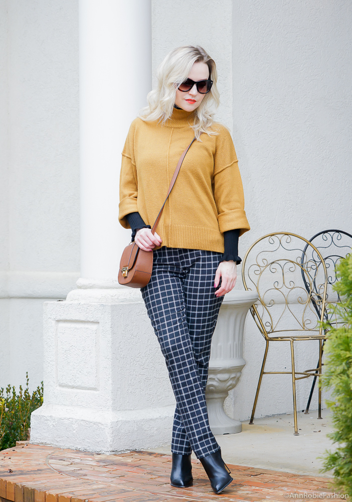 Winter Style: Mustard yellow oversized sweater, black turtleneck sweater, ankle pants - winter outfit by petite style blogger AnnRobieFashion
