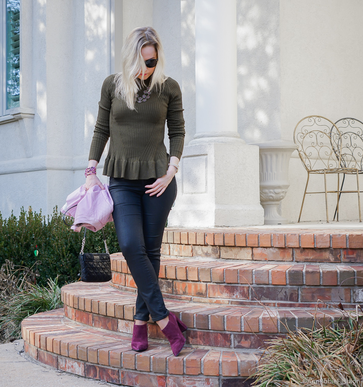 Outfit for petites: Dark green peplun top H&M, skinny jeans Ann Taylor, lilac leather jacket WHBM, suede booties Marc Fisher - winter outfit by petite style blogger AnnRobieFashion