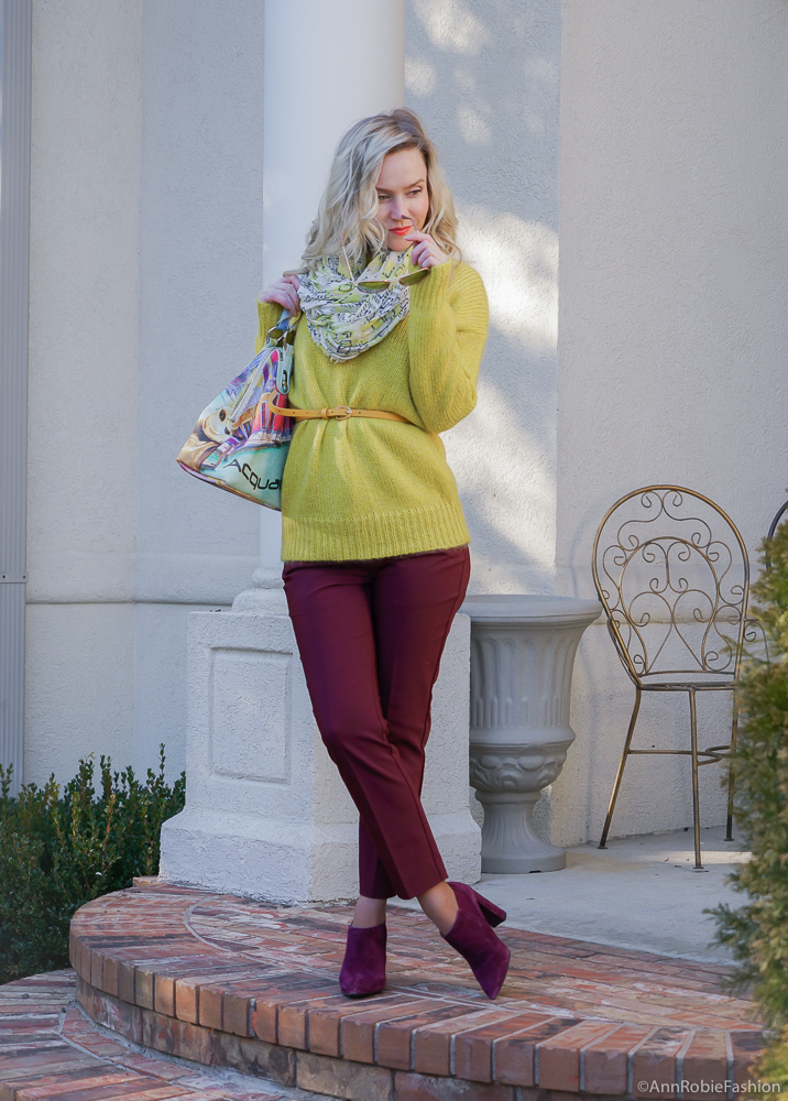 Burgundy & Yellow: Yellow sweater, burgundy ankle pants, suede burgundy booties - outfit by petite style blogger AnnRobieFashion