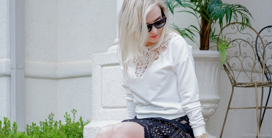 Spring outfit ideas: Black & cream lace full skirt Target, lace detail sweatshirt, heels - spring - summer outfit by petite style blogger AnnRobieFashion