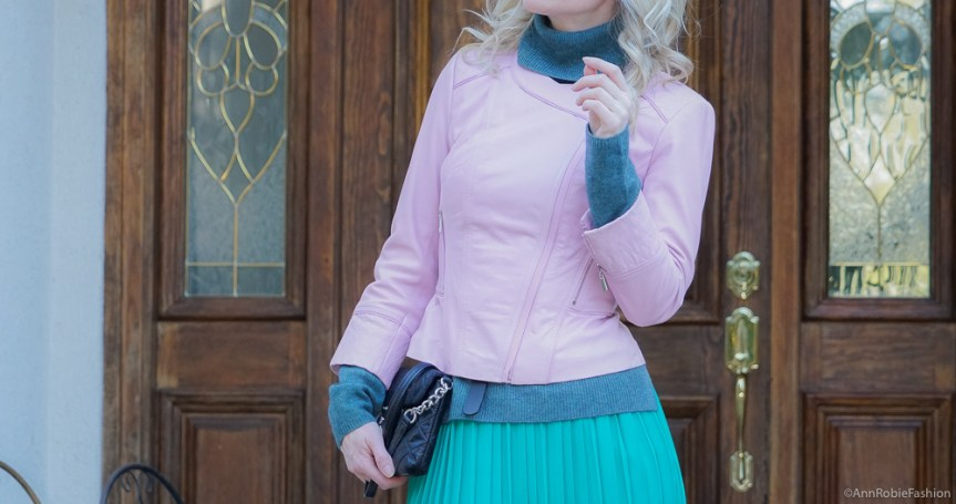 Spring Color Palette: Turquoise turtleneck sweater, green midi skirt, lilac leather jacket - outfit by petite style blogger AnnRobieFashion