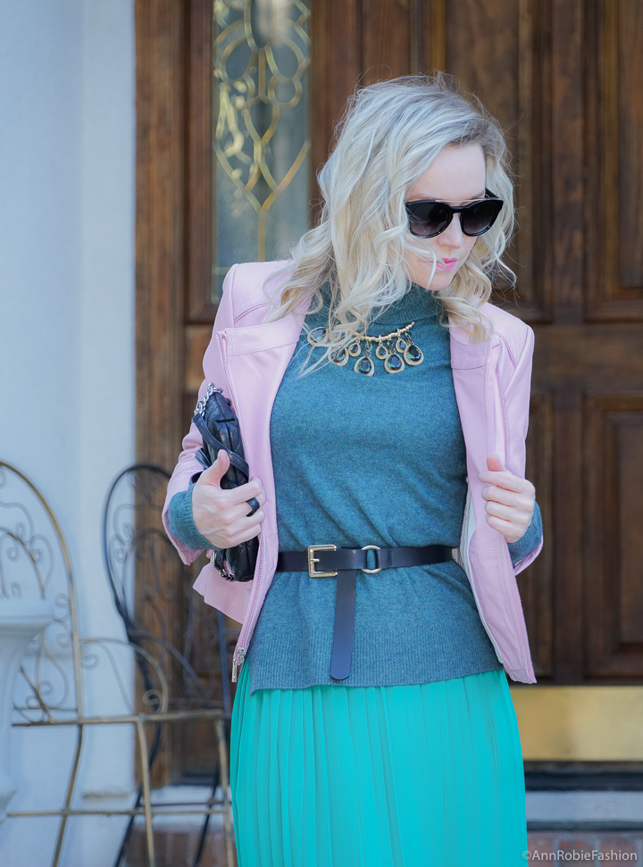 Midi Skirt For Spring: Turquoise turtleneck sweater, green midi skirt, lilac leather jacket - outfit by petite style blogger AnnRobieFashion