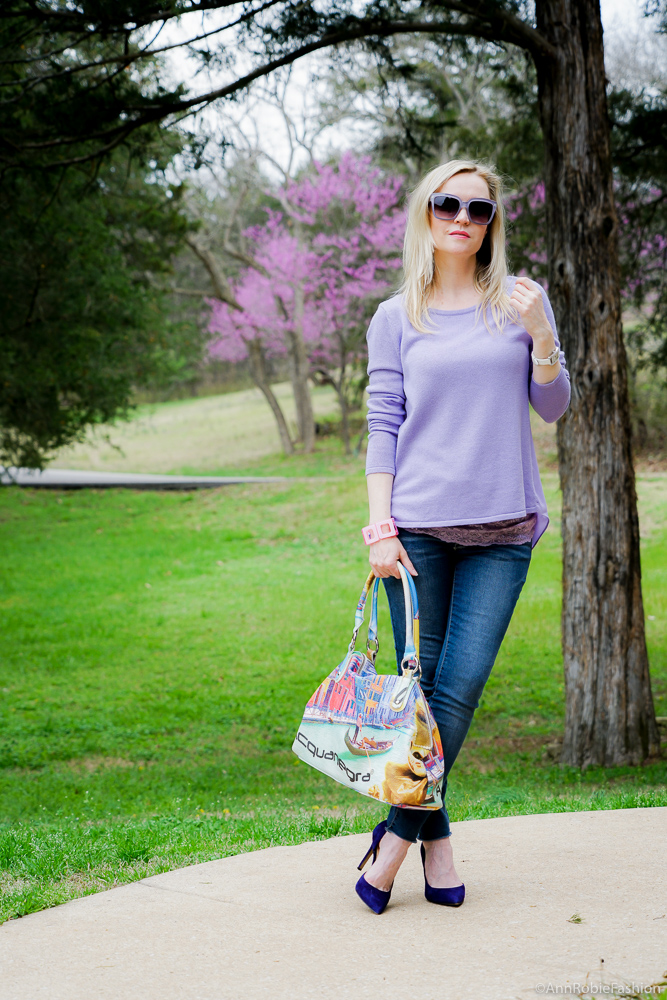 How to wear lilac color: Lilac top Ann Taylor, lace cami Loft, skinny jeans Target, purple suede heels - outfit by petite style blogger AnnRobieFashion