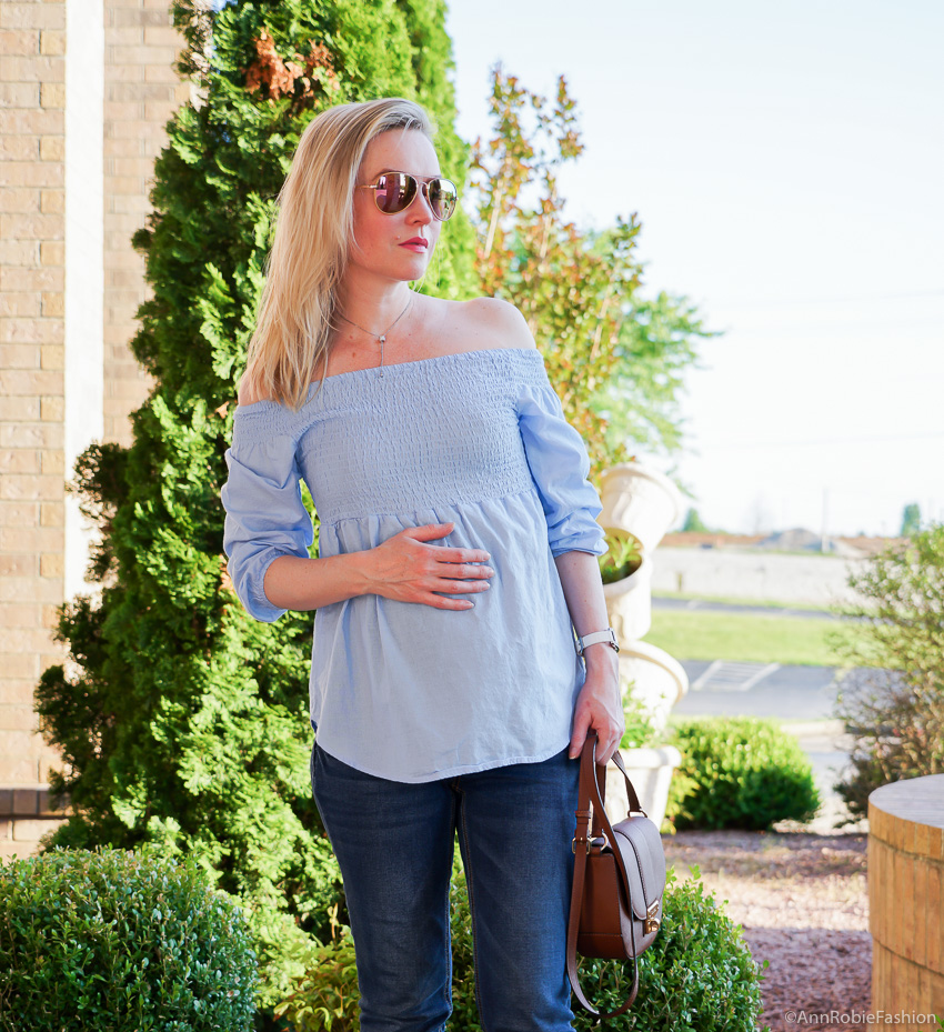 How to dress your baby bump: Baby blue off-the-shoulder top, skinny maternity jeans Jessica Simpson - outfit by petite style blogger AnnRobieFashion