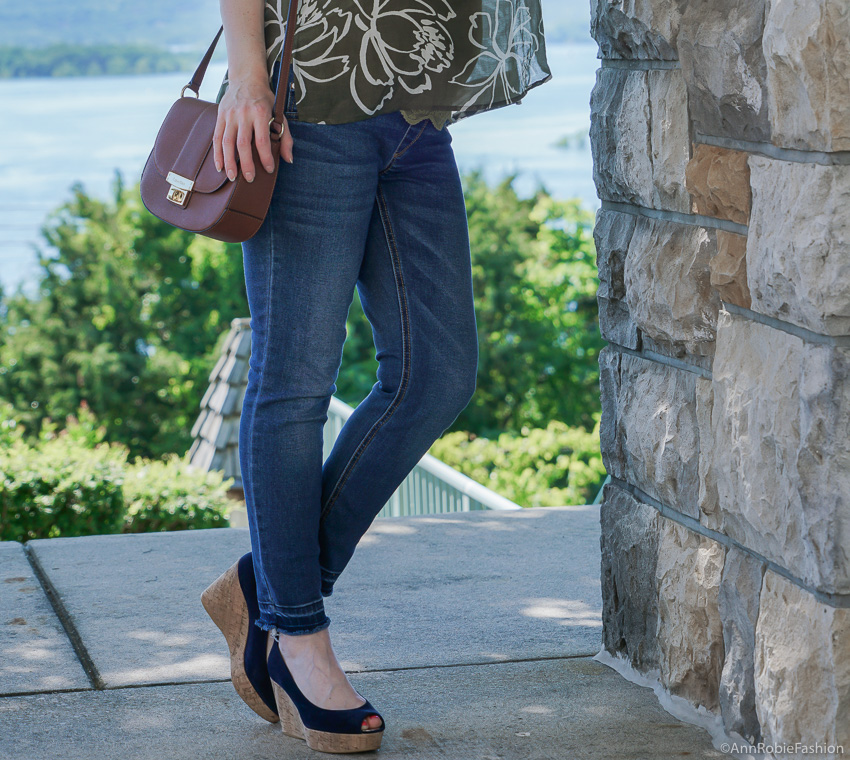 Pregnant & Stylish: Green top Ann Taylor, skinny maternity jeans - outfit by petite style blogger AnnRobieFashion