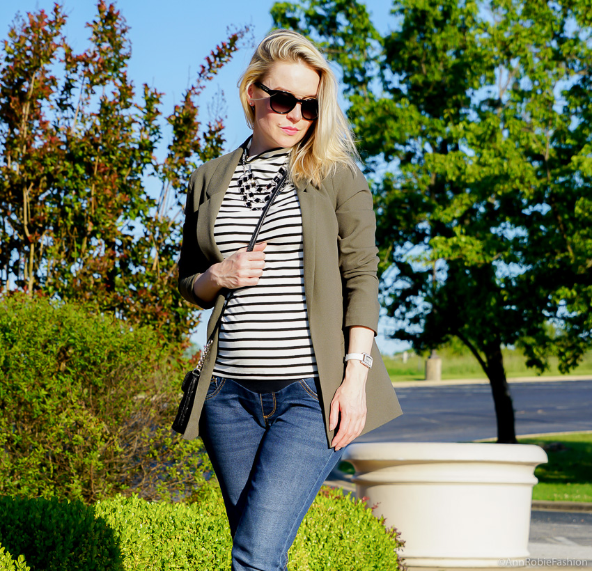 Pregnant & Stylish: Hunter green long jacket Asos, striped mockneck top Ann Taylor, skinny maternity jeans Jessica Simpson - outfit by petite style blogger AnnRobieFashion