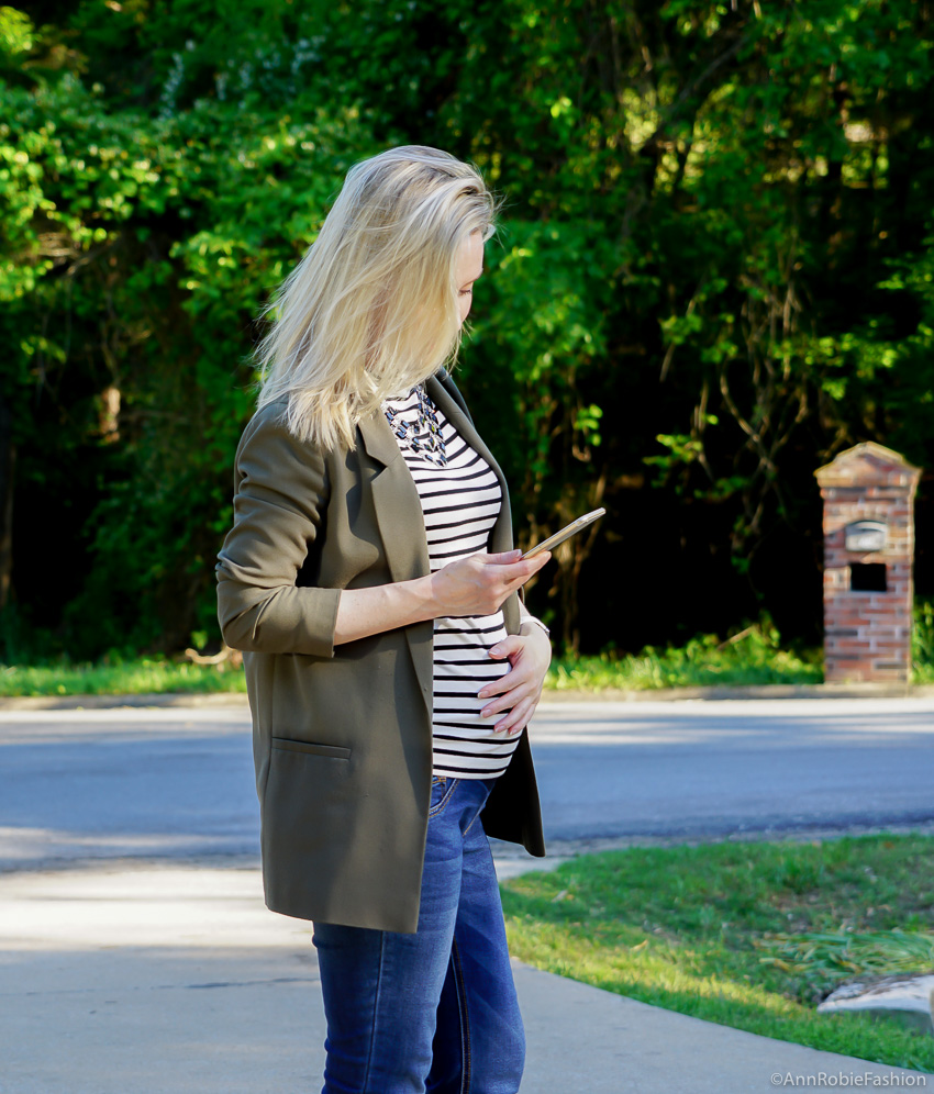 Maternity Fashion: Hunter green long jacket Asos, striped mockneck top Ann Taylor, skinny maternity jeans Jessica Simpson - outfit by petite style blogger AnnRobieFashion