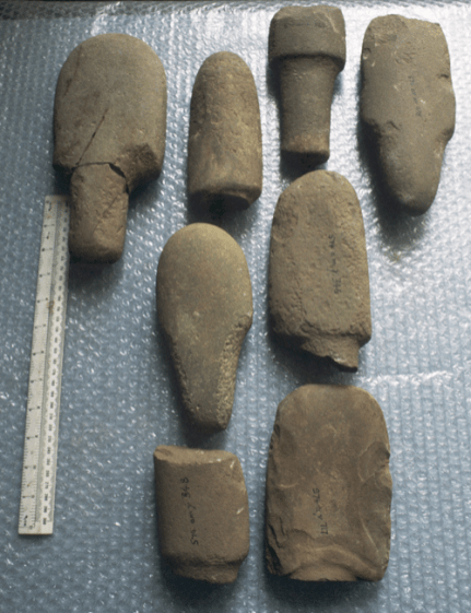 These unusual tools have a distinctive carefully-shaped handle . They were in use in the Early Bronze Age of Orkney and Shetland.