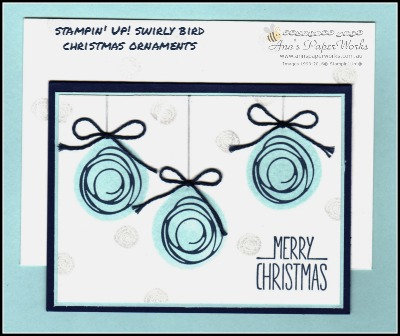 Swirly Bird Christmas handmade card, Christmas in July, Better Together Stamp Set, Technique Teaser Sunday card class 2/16 Christmas in July Creative Class Stampin' Up! Ann's PaperWorks Ann Lewis Stampin' Up! (Aus) card class