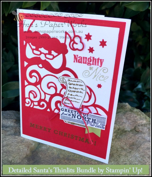 Detailed Santa Thinlits, Greetings from Santa Stamp Set, Global Stampers Challenge, Ann's PaperWorks| Ann Lewis| Stampin' Up! (Aus) online store 24/7