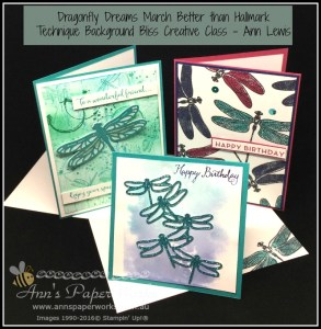 Better Than Hallmark Dragonfly Dreams Creative Class, background techniques, Stampin' Up! Ann's PaperWorks, Ann Lewis, Stampin' Up! (Aus) Stampin' Up! 2017 Occasions Catalogue  online store 24/7