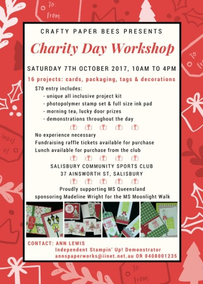 Crafty Paper Bees Christmas Charity Cardmaking Workshop, Ann's PaperWorks, Ann Lewis, stampin up, brisbane card making,