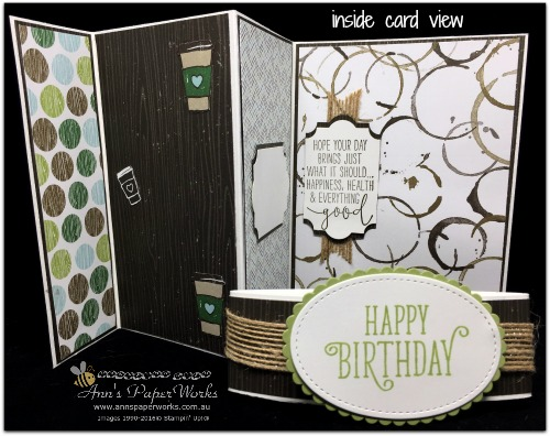 Coffee Break DSP, masculine birthday card, Global Stampers' Challenge, Blog Hop, Stampin' Up! 2017-18 Catalogue Ann's PaperWorks| Ann Lewis| Stampin' Up! (Aus) online store 24/7
