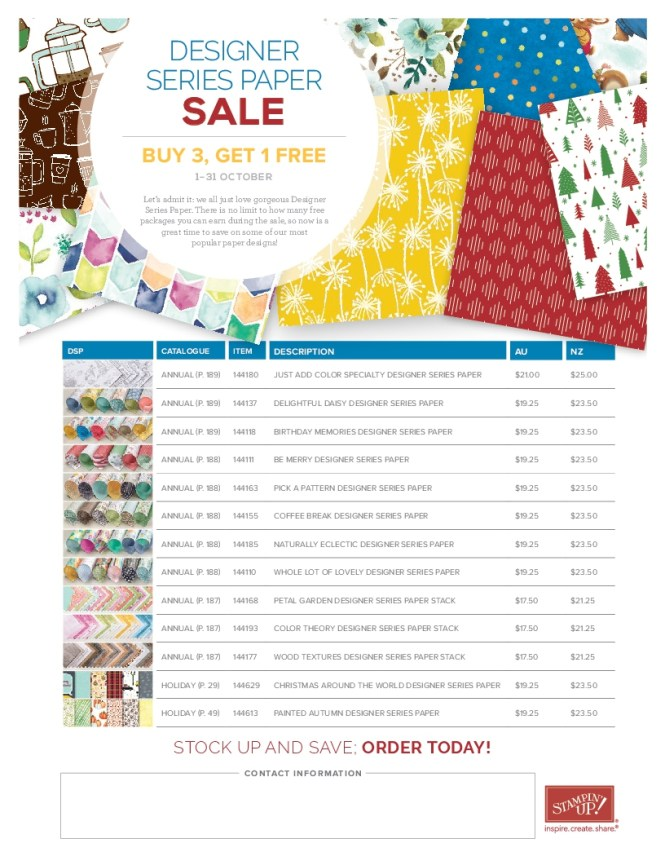 Stampin' Up! Special Offers, Designer Series Paper Sale, Stampin' Up! 2017-18 Catalogue Ann's PaperWorks| Ann Lewis| Stampin' Up! (Aus) online store 24/7 October 2017,