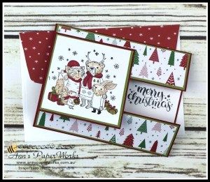 Mistletoe Friends Stamp Set, Be Merry Designer Series Paper, Merry Music Specialty Designer Series Paper, Fancy Fold card, easy handmade christmas card, Stampin' Up! 2017 Christmas Holiday Catalogue Ann's PaperWorks| Ann Lewis| Stampin' Up! (Aus) online store 24/7