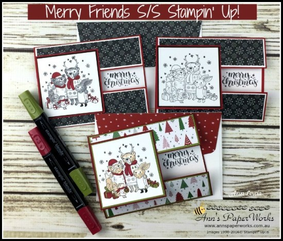 Mistletoe Friends Stamp Set, Be Merry Designer Series Paper, Merry Music Specialty Designer Series Paper, Christmas Card, Fancy Fold card, Stampin' Up! 2017 Christmas Holiday Catalogue Ann's PaperWorks| Ann Lewis| Stampin' Up! (Aus) online store 24/7