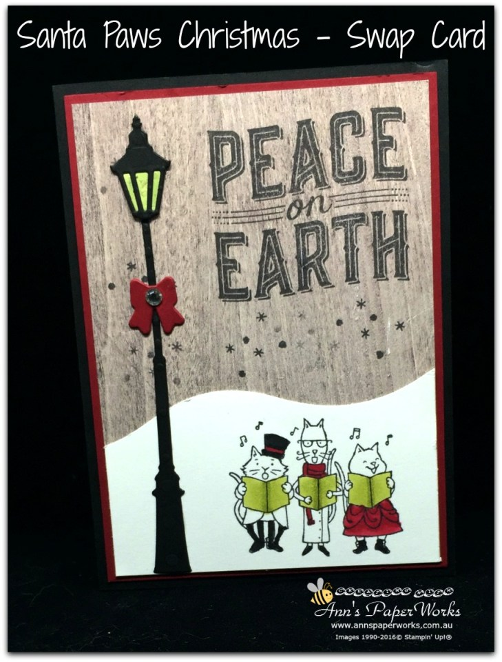 Santa Paws Stamp Set, Brightly Lit Christmas Stamp Set, 2017 OnStage Live swap card, Stampin' Up! 2017 Christmas Holiday Catalogue Ann's PaperWorks| Ann Lewis| Stampin' Up! (Aus) online store 24/7