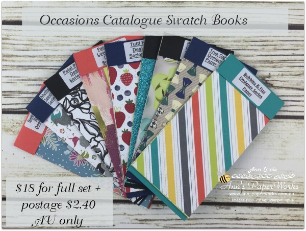 Ann's PaperWorks Swatch books, Occasions Catalogue, Petal Passion DSP, True Gentleman DSP, Picture Perfect DSP, Painted with Love Specialty DSP, Tutti Frutti DSP stack, Myths & Magic Specialty DSP, Stampin' Up! Ann's PaperWorks, Ann Lewis, Stampin' Up! (Aus)|Stampin' Up! 2018 Occasions Catalogue| online store 24/7
