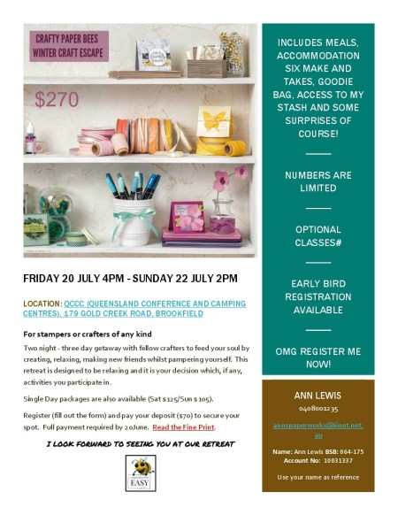 2018 Winter Craft Retreat, Brisbane, Ann's PaperWorks, Ann Lewis, Crafty Paper Bees, Crafty Paper Bees Winter Craft Escape, Stampin' Up!