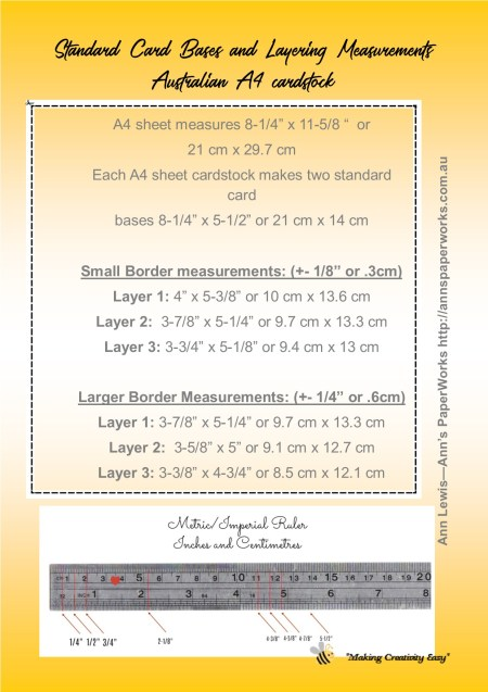 Standard Card Sizes and Measurement Guide, cardmaking basics, inch and centimetre card measurements, standard card sizes A4 cardstock, Australian card making measurements, Ann's PaperWorks| Ann Lewis| Stampin' Up! (Aus) available from my online store 24/7
