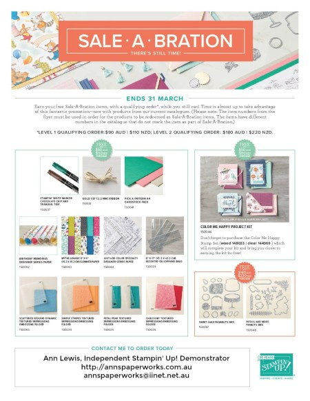 Sale-a-Bration 2018, Stampin' Up! Ann's PaperWorks, Ann Lewis, Stampin' Up! (Aus)|Stampin' Up! 2018 Occasions Catalogue| online store 24/7