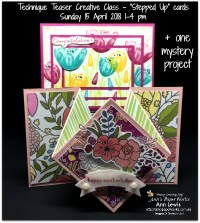 Diamond Fold Card, Fancy Folds, Triple Time Stamping Card, handmade cards, birthday card, Mother's Day card, Technique Teaser Sunday card class April '18, Ann's PaperWorks| Ann Lewis| Stampin' Up! (Aus) available from my online store 24/7