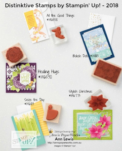 Distinktive Stamps by Stampin' Up!, Bokeh Dots, Stylish Christmas, Seize the Day, Healing Hugs, All the Good Things Stamp Set, Stampin' Up! 2018-19 Catalogue Ann's PaperWorks| Ann Lewis| Stampin' Up! (Aus) online store 24/7