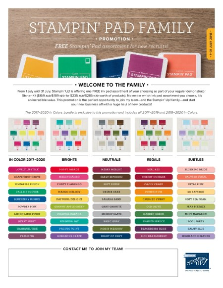 Stampin' Up ! Starter Kit, FREE ink pads, July only offer, any of the five colour families, Stampin' Up! 2018-19 Catalogue Ann's PaperWorks| Ann Lewis| Stampin' Up! (Aus) online store 24/7
