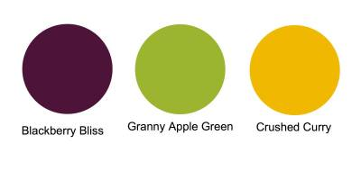 Granny Apple Green, Crushed Curry and Blackberry Bliss, Stampin' up! core colours