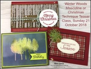 Winter Woods Stamp Set, Jacobs technicolour coat technique., Christmas, masculine cards