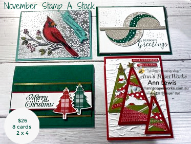 christmas cardmaking class, stampin' up!, sunshine coast, annspaperworks, Toile Tidings, Stitched Triangle Dies, Stitched Circle Dies, Plaid Tidings Stamp Set, Heartwarming Hugs Designer Series Paper, Classic Christmas Designer Series Paper