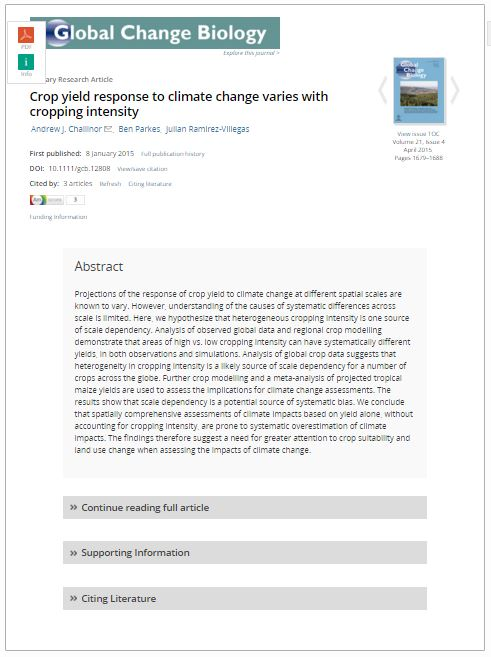 Crop yield response to climate change varies with cropping intensity