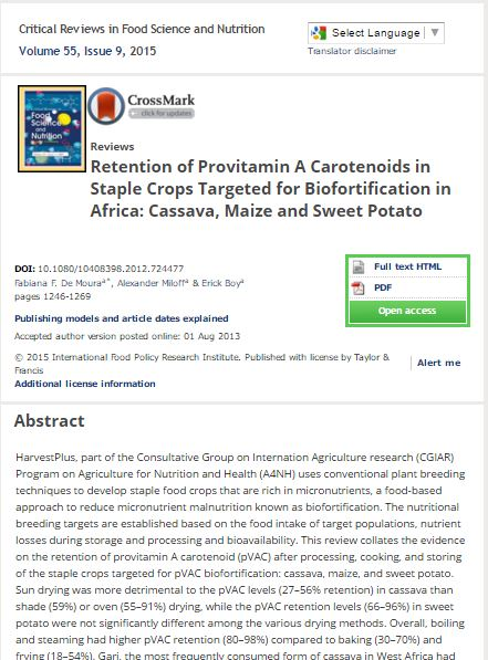 Retention of Provitamin A Carotenoids in Staple Crops Targeted for Biofortification in Africa: Cassava, Maize and Sweet Potato