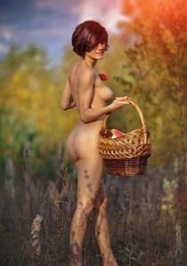 nue dans un champs
