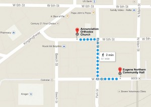 Walking Directions from Church to Community Hall