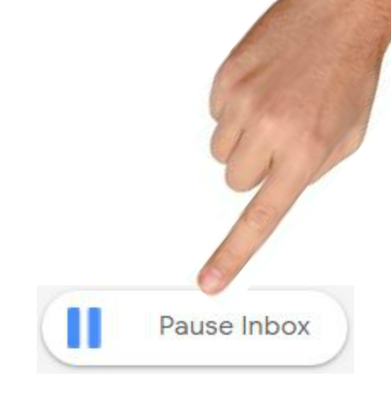finger pointing at pause inbox button