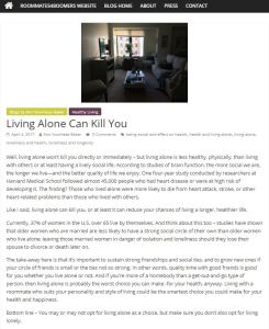 R4B aarticle - Living Alone Can Kill You