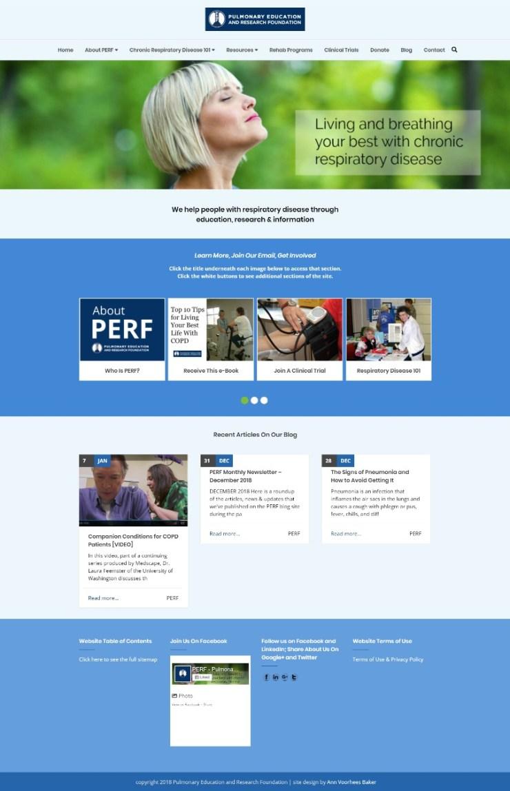 PERF website screenshot
