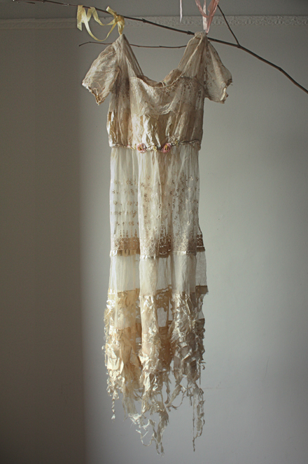 tattered antique lawn gown