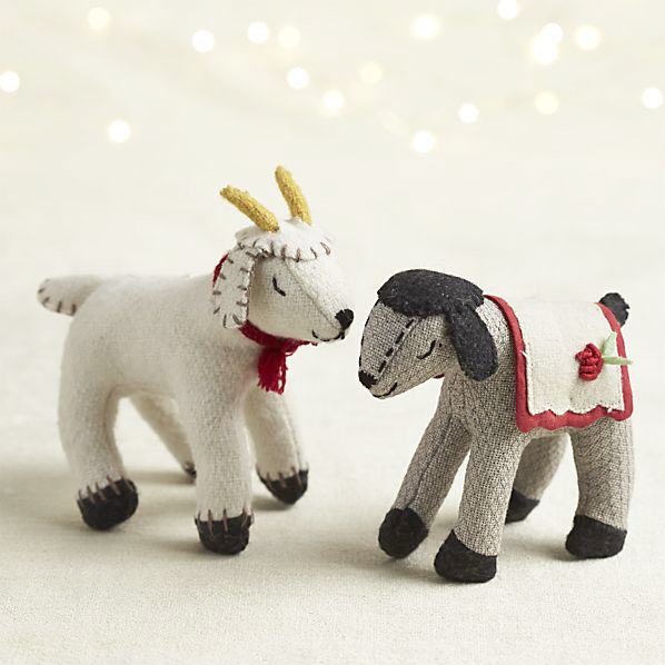 sleepy goat and lamb ornaments