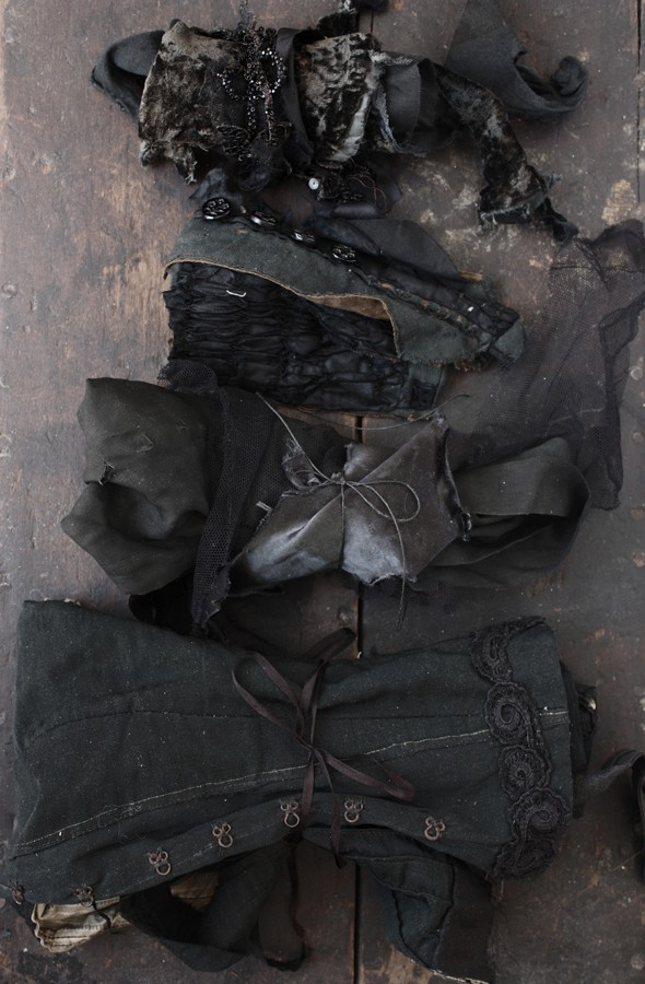 black antique garment fragments