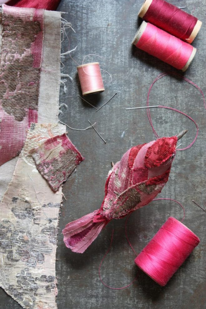 pink antique textiles