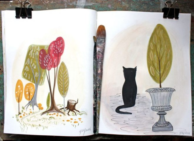 sketchbook : cat and trees