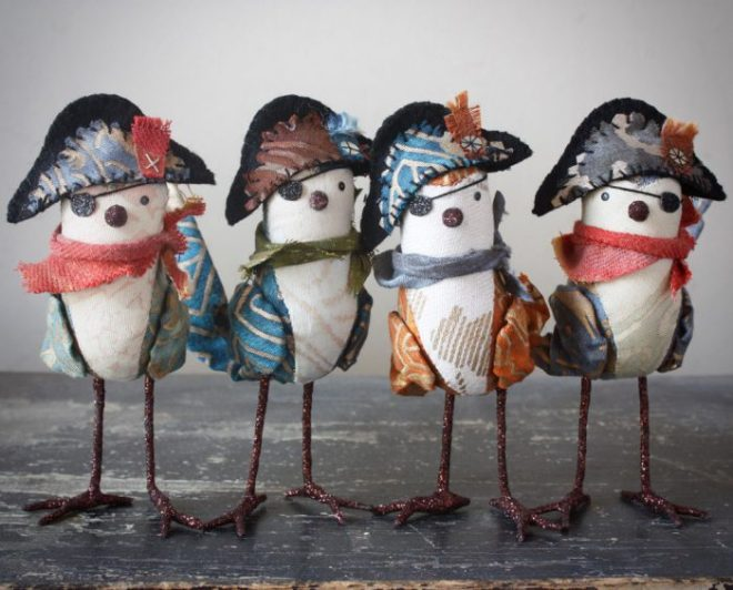 colorful handmade pirate birds with fancy bicorne hats (you should make one)