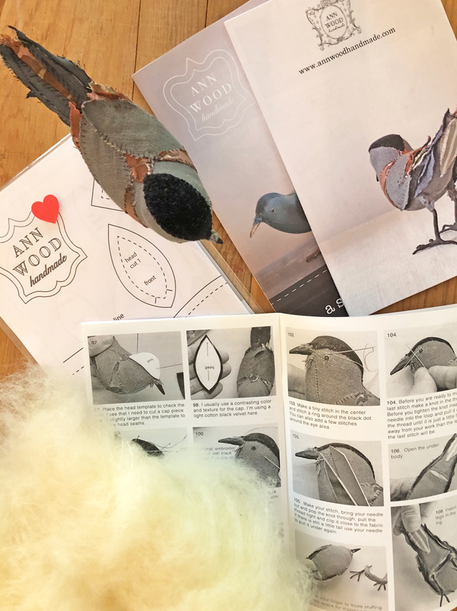bird pattern booklet and wool stuffing
