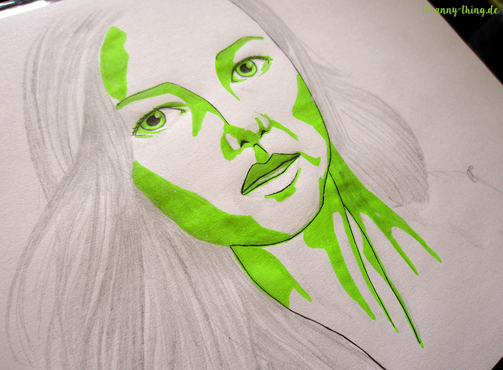 grünes Frauenporträt