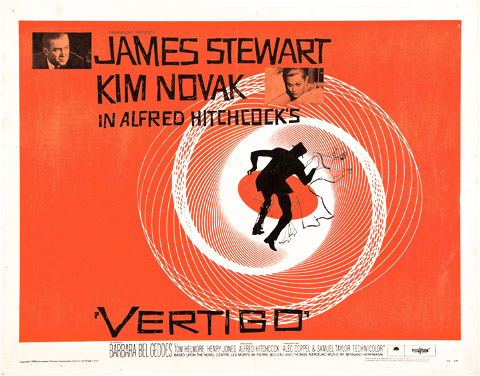 Saul Bass half sheet Vertigo movie poster