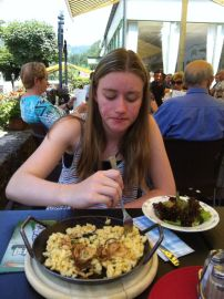 Germany: spaetzle with cheese and onions (ignore the salad; I sure did)