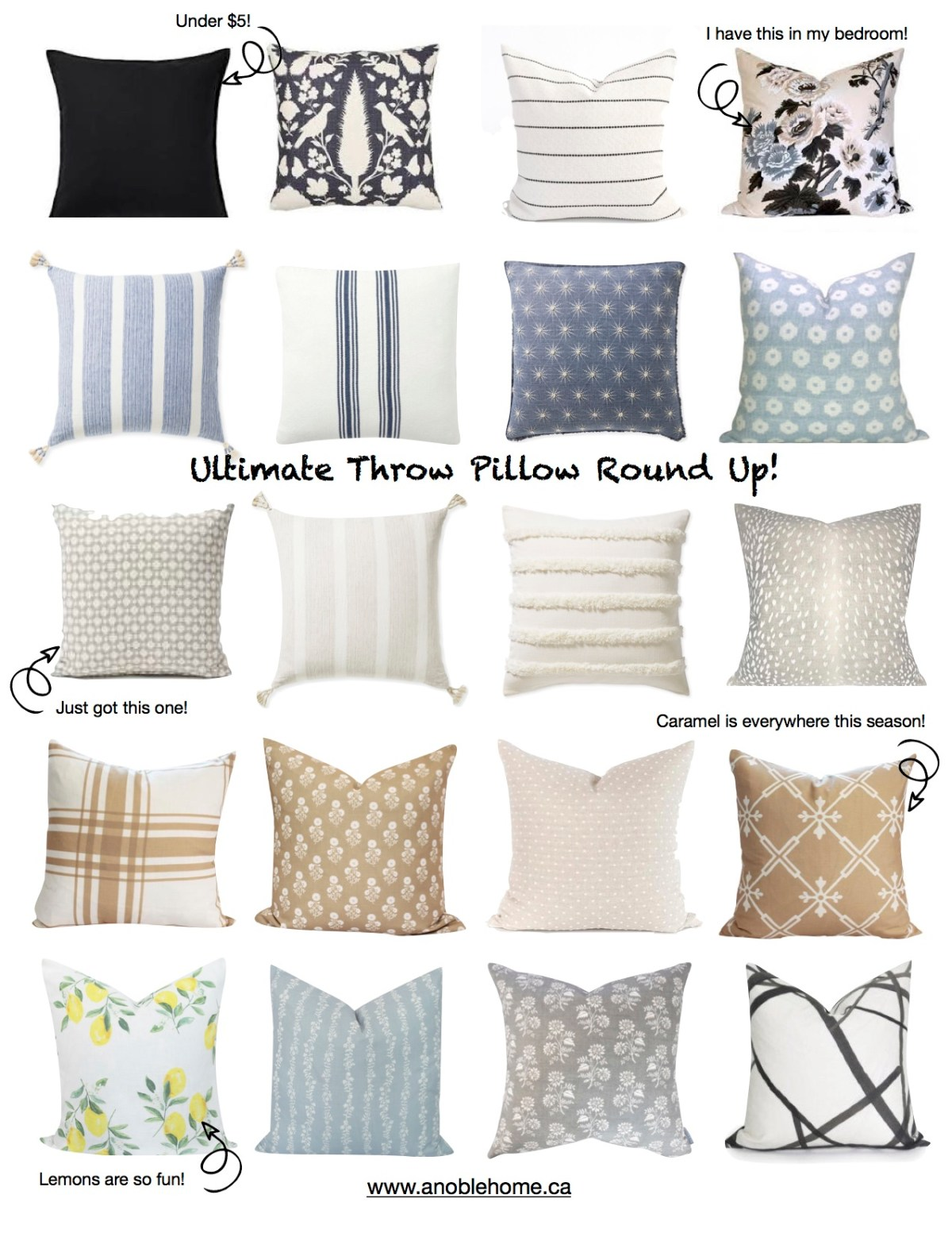 Ultimate Throw Pillow Round Up!